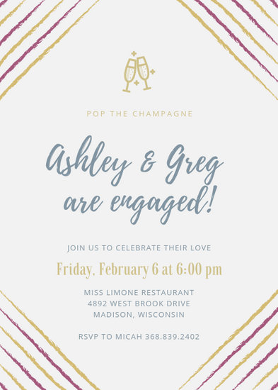 Blue and Gold Champagne Engagement Party Invitation - Templates by Canva