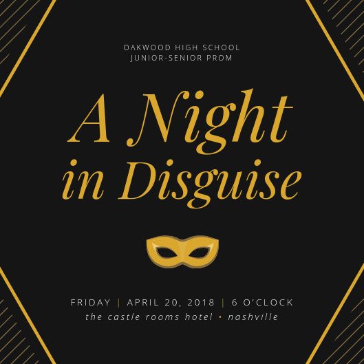 Black And Gold Prom Invitation - Templates by Canva