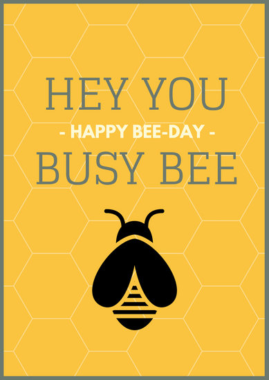 Yellow Bumble Bee Happy Birthday Poster - Templates by Canva