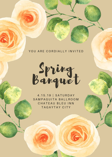 Peach Floral Spring Banquet Portrait Invitation - Templates by Canva
