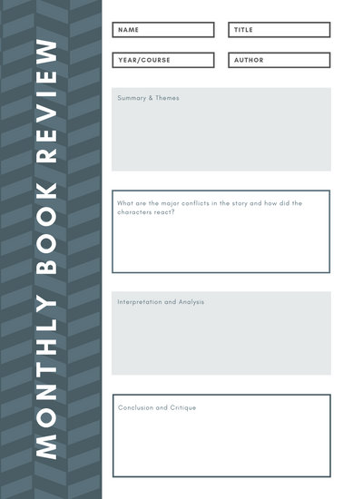 Grey Sidebar Book Review College Worksheet - Templates by Canva