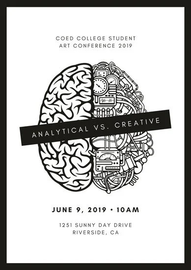 Black and White Brain Conference Poster - Templates by Canva