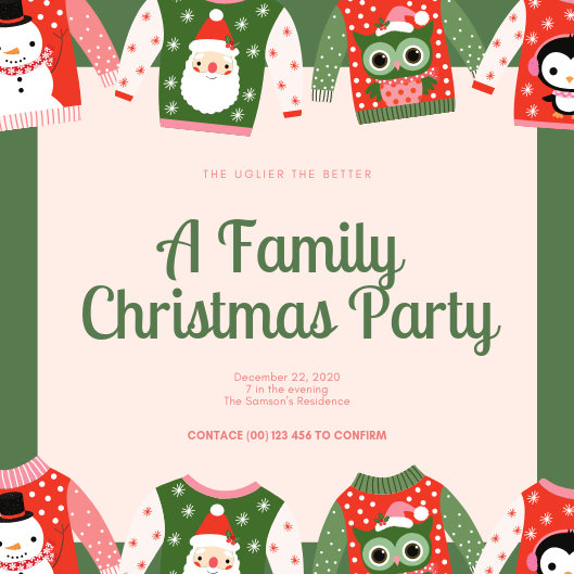 Green Red Modern Ugly Christmas Invitation - Templates by Canva