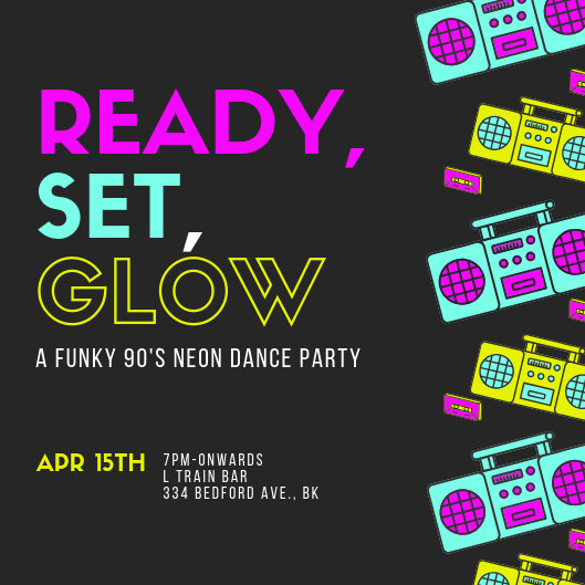 Glow 90\u0027s Neon Dance Party Invitation - Templates by Canva