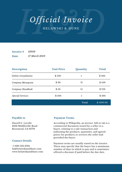 Royal Blue and White Professional Service Invoice - Templates by Canva