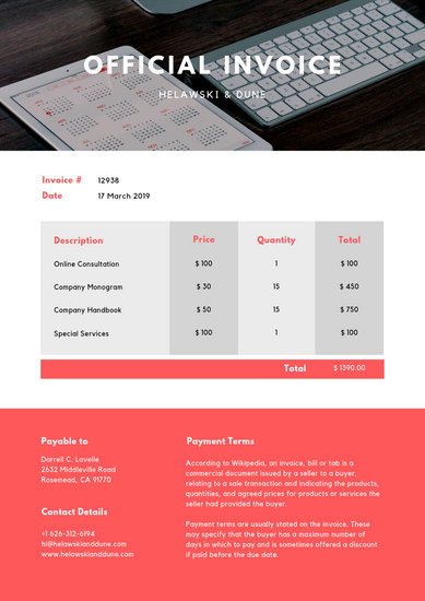 Bright Red and White Computer Photo Service Invoice - Templates by Canva