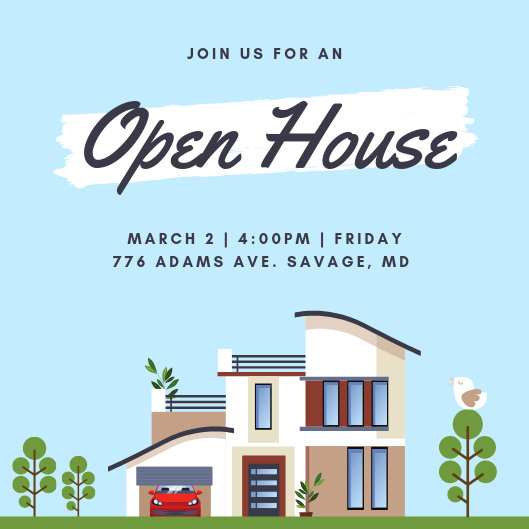 Blue Illustration Open House Invitation - Templates by Canva