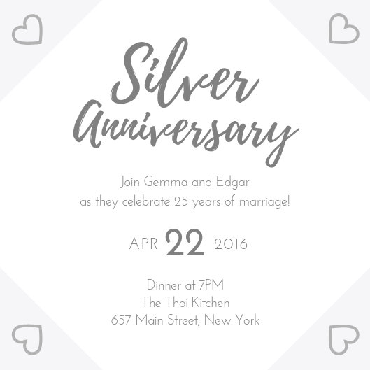 Silver 25th Wedding Anniversary Invitation - Templates by Canva
