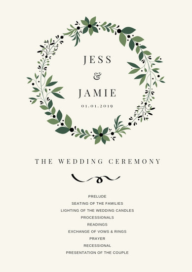 Customize 41+ Wedding Program templates online - Canva