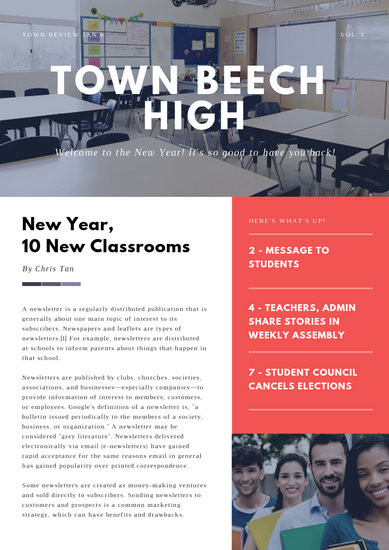 Red and White Modern Back to School Newsletter - Templates by Canva