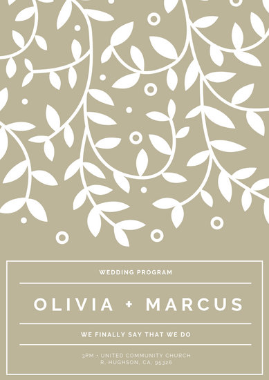 Beige and White Floral Wedding Program - Templates by Canva