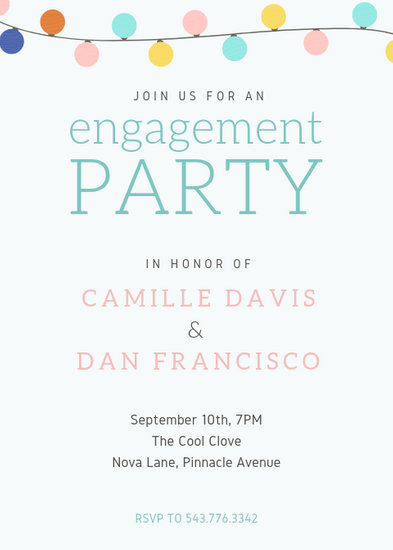 Colorful Pastel Lights Wedding Engagement Party Invitation