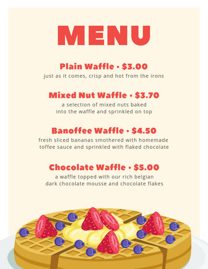 White with Cream Shape and Waffle Vector Breakfast Menu - Templates