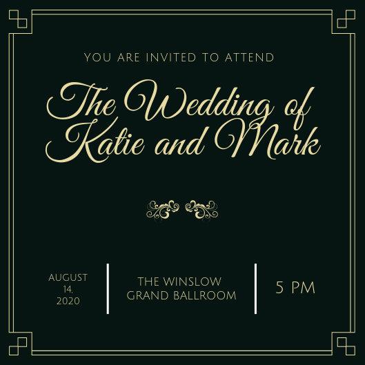 Emerald Fancy Wedding Ticket Invitation - Templates by Canva