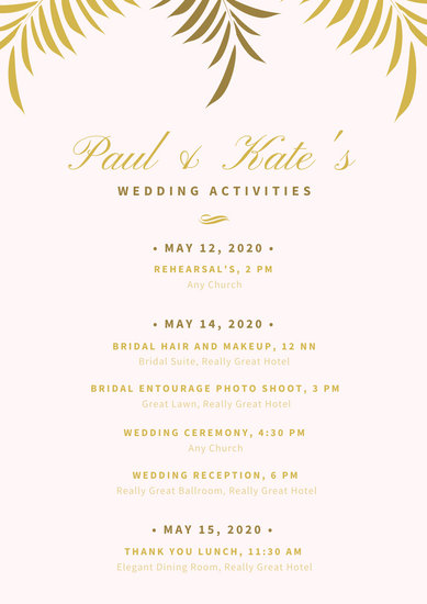 Light Pink with Golden Leaves Wedding Itinerary Planner - Templates