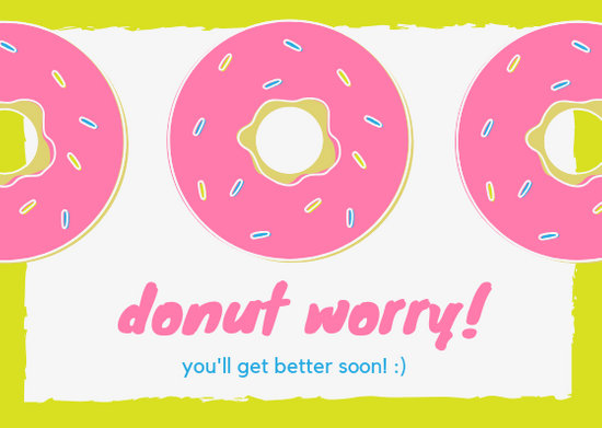 Donuts Themed Get Well Soon Card - Templates by Canva