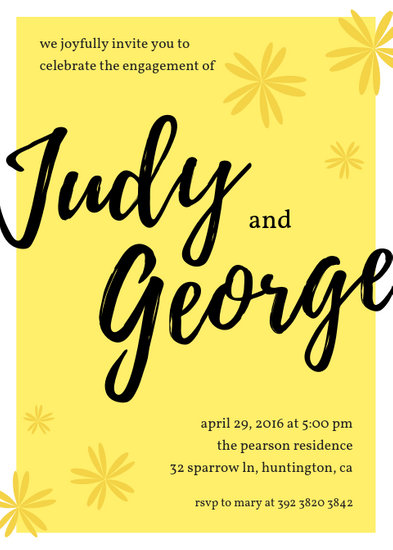 Black and Yellow Engagement Party Invitation (Portrait) - Templates