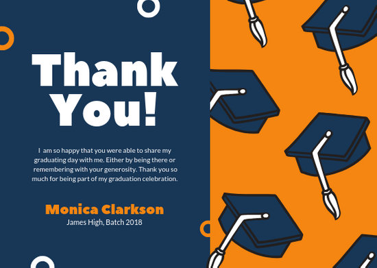 Blue Orange Hats Graduation Thank You Card - Templates by Canva