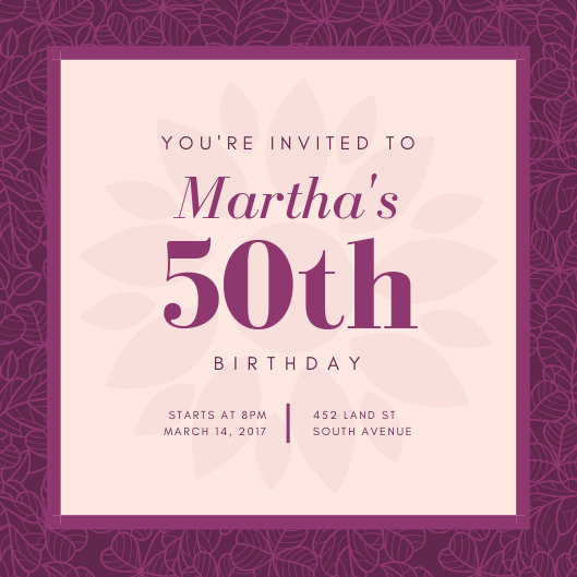 Customize 370+ 50th Birthday Invitation templates online - Canva
