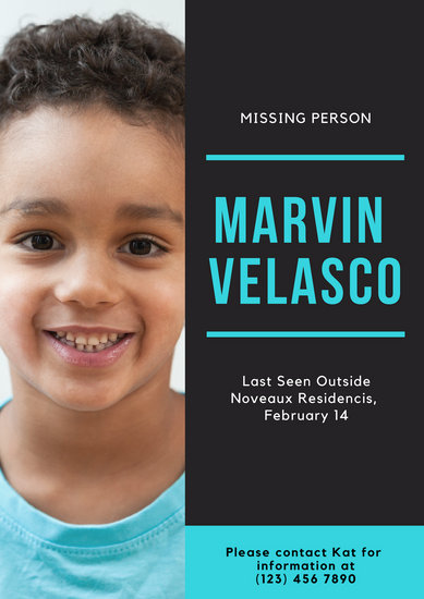 Turquoise Kid Photo Missing Person Poster - Templates by Canva