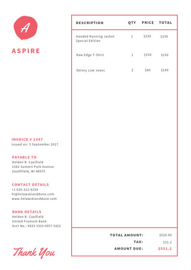 Red Minimalist Commercial Invoice - Templates by Canva