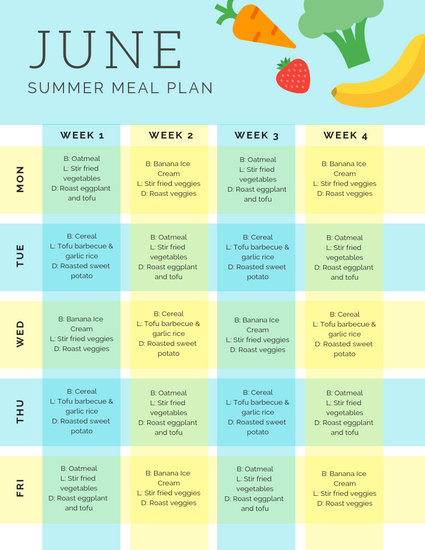 Blue and Yellow Checkered Monthly Meal Plan Menu - Templates by Canva