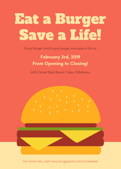 Coral Red Burger Fundraiser Flyer - Templates by Canva