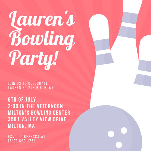 Customize 86+ Bowling Invitation templates online - Canva