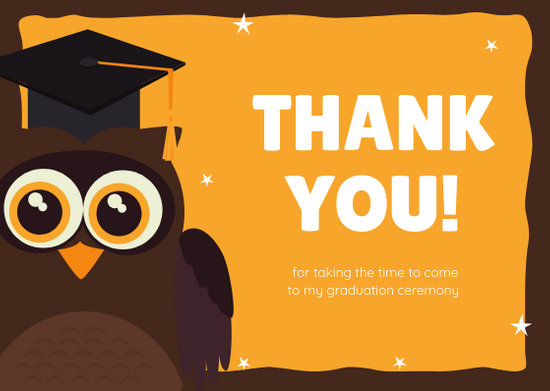Yellow Brown Owl Graduation Thank You Card - Templates by Canva