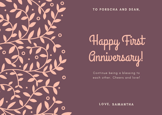 Taupe Leaves Anniversary Card - Templates by Canva