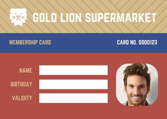 Colorful Lion Supermarket Grocery Membership ID Card - Templates by