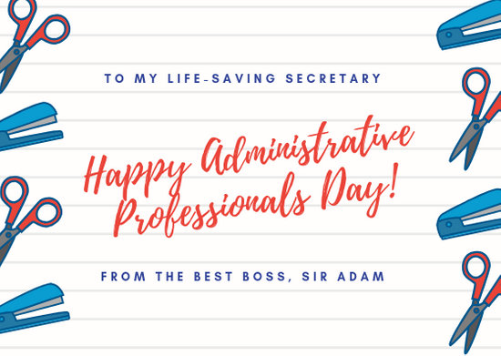 White Notebook Office Supplies Administrative Professionals Day Card