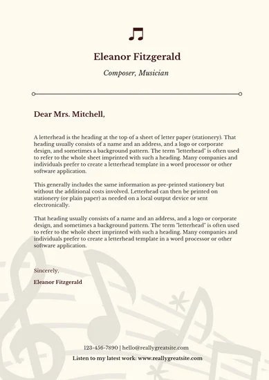 Cream and Brown Simple Elegant Artist Letterhead - Templates by Canva