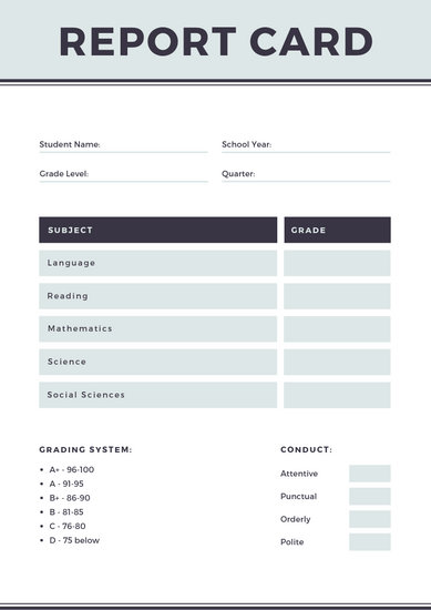 Gray Simple Homeschool Report Card - Templates by Canva