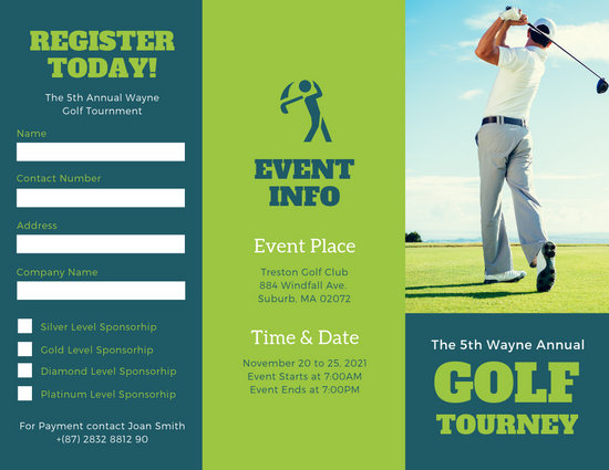 Green Photo Golf Tournament Brochure - Templates by Canva