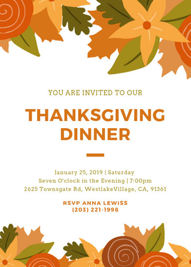 Customize 93+ Thanksgiving Invitation templates online - Canva