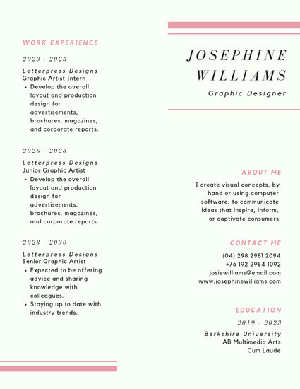 Pink Minimalist Corporate Resume - Templates by Canva