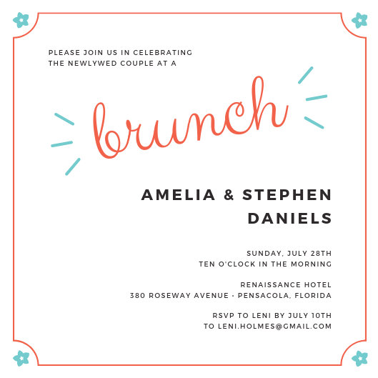 Carnation Wedding Brunch Invitation - Templates by Canva