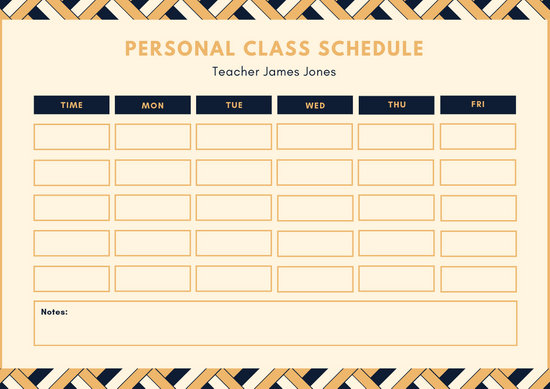 Teal and Orange Class schedule - Templates by Canva