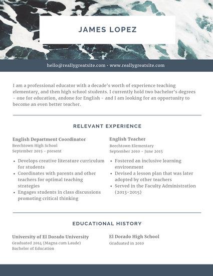 Blue Ocean Header Scholarship Resume - Templates by Canva