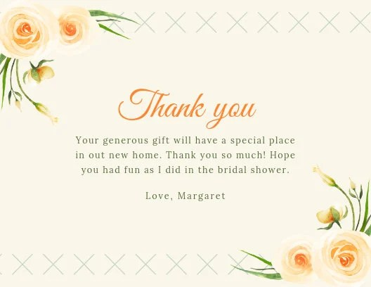 Peach Watercolour Roses Bridal Shower Thank You Card - Templates by