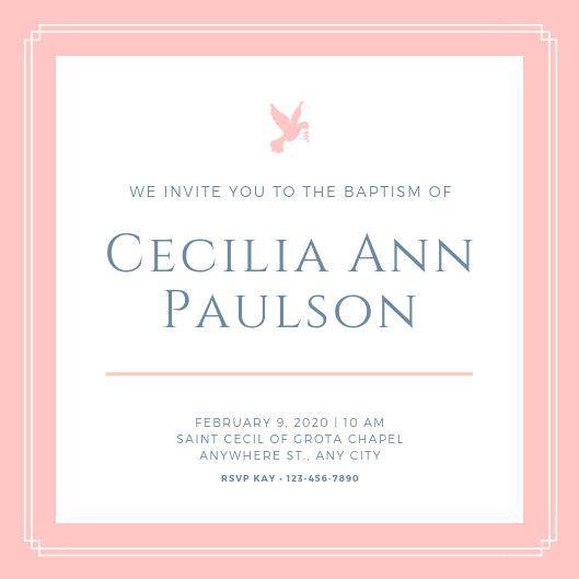 Customize 143+ Baptism Invitation templates online - Canva