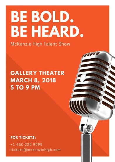 Orange Microphone Talent Show Flyer - Templates by Canva
