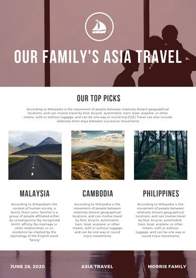 Red Travel Family Newsletter - Templates by Canva