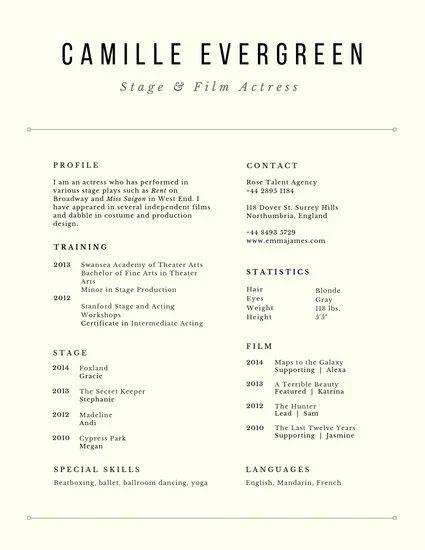 example of an actress resume