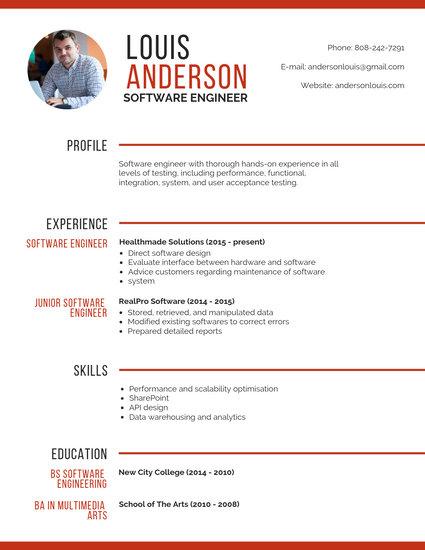 sample resume format for software test engineer