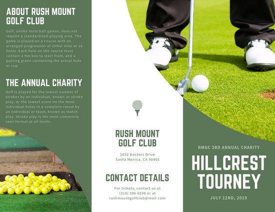Green Golf Tournament Trifold Brochure - Templates by Canva