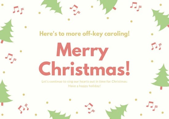 Cream with Tree Musical Notes Funny Christmas Card - Templates by Canva