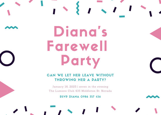 Pink and Blue Confetti Farewell Party Invitation - Templates by Canva