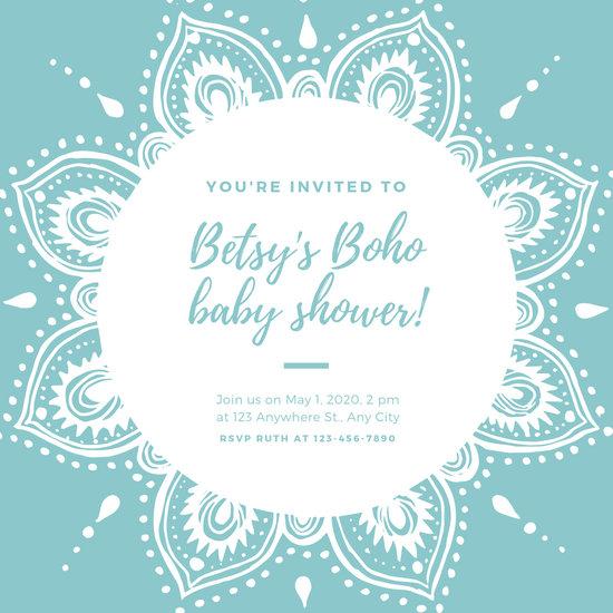 Turquoise Mandala Boho Baby Shower Invitation - Templates by Canva